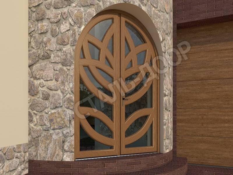 Эксклюзивная коттеджная арочная дверь со стеклом из массива